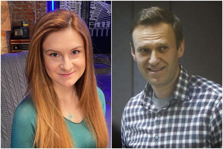 Maria Butina (left) and Alexei Navalny had a face-to-face encounter that appeared to have been punctuated by mutual insults.