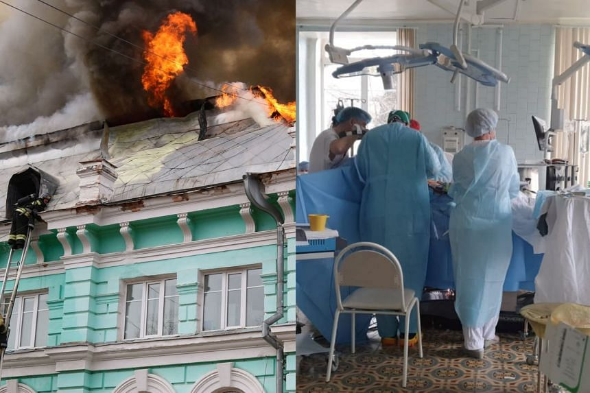 Firefighters tackled the blaze as doctors carried on with open heart surgery.