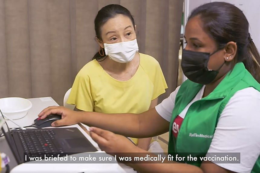 Veteran actress Wee Soon Hui in a Gov.sg video on the vaccination process.