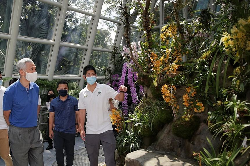 Prime Minister Lee Hsien Loong and Minister for National Development Desmond Lee (second from right) being guided at The Sembcorp Cool House by Mr Mark Choo, assistant curator at the National Orchid Garden of Singapore Botanic Gardens. This display h