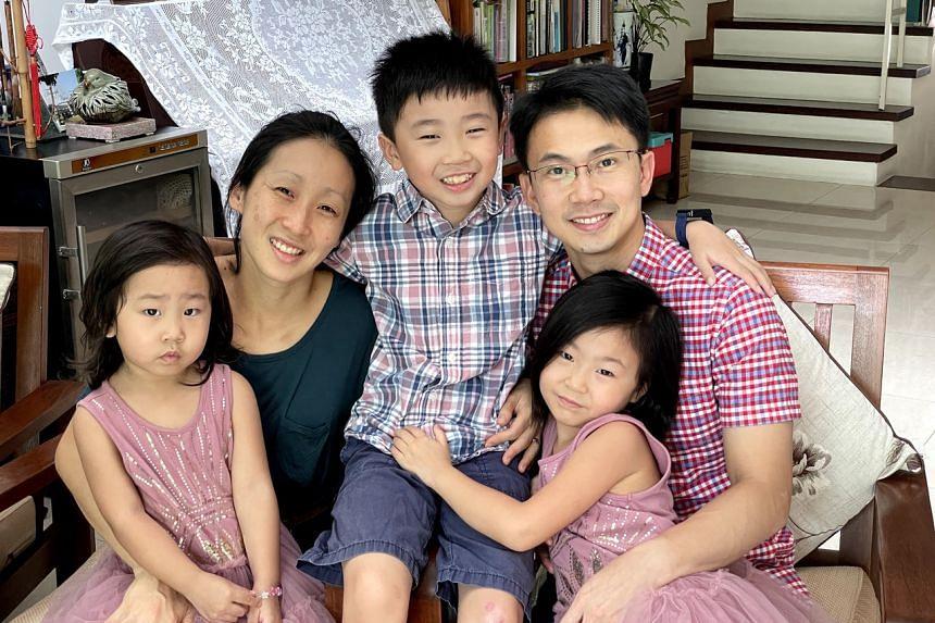Dr Mok Kwang How and his wife Ms Hoe Li Shan with their children, (from left) Ethel Mok Zhi Ting, 5, Asher Mok Zhi Wen, 9, and Eden Mok Zhi En, 7.