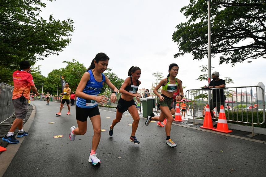 Instead of the usual mass start, runners were flagged off in groups of eight.