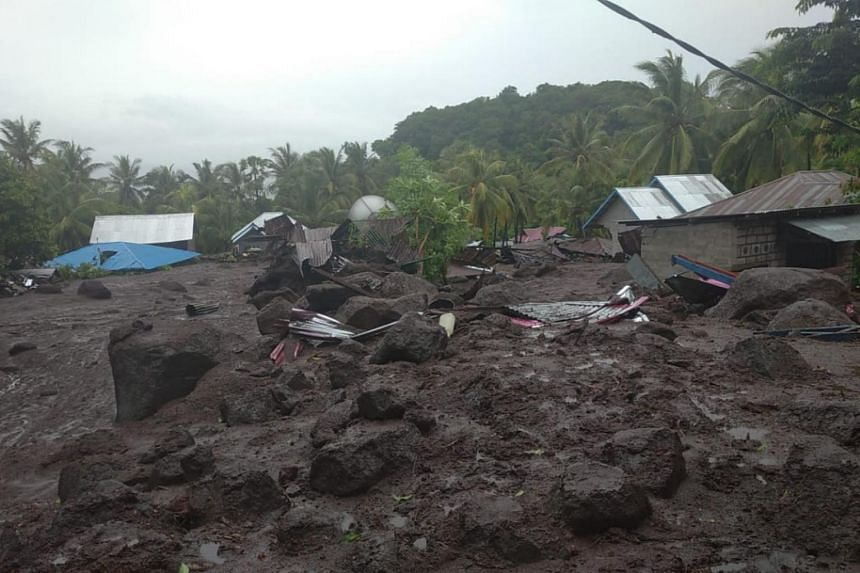 Dozens of houses were buried in mud in Lamanele village in Flores, said a spokesman for disaster management agency BNPB.