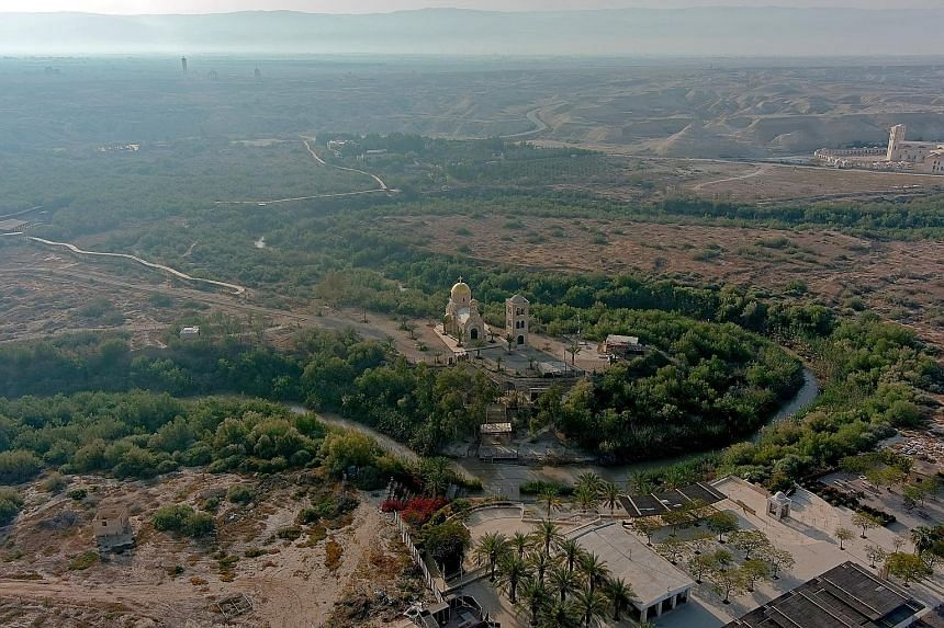 A baptismal site known as Qasr el-Yahud on the River Jordan near Jericho, in the Israeli-occupied West Bank, last month. A priest leading a mass in the Good Shepherd Church in Jericho, in the Israeli-occupied West Bank, last month. The Western Wall (