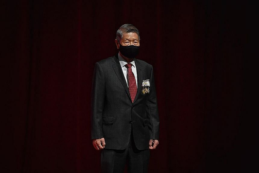 Mr Koh Choon Hui, who was also given the Distinguished Service Order, has nurtured several social service agencies in his four decades in the sector. The investiture ceremony was held for more than 500 recipients of the higher honours. In all, a tota