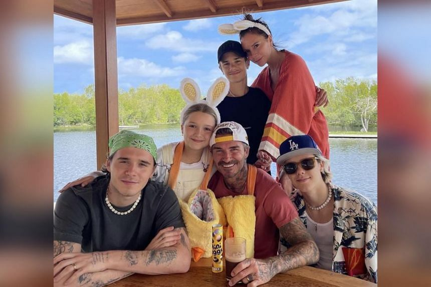 Victoria and David Beckham spent Easter at home with all four of their children.