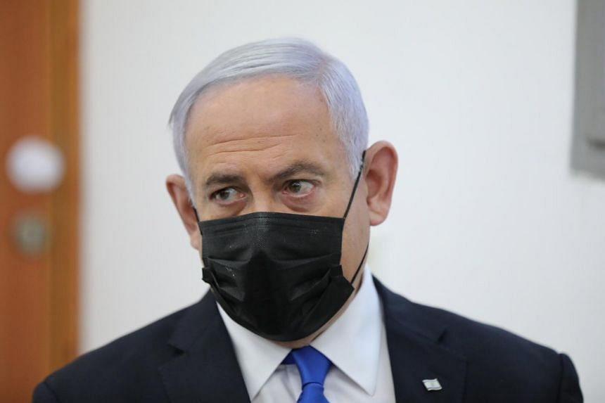 Israeli Prime Minister Benjamin Netanyahu attends his corruption trial at the Jerusalem district court on April 5, 2021.