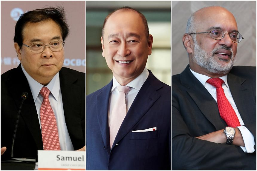 (From left) OCBC group chief executive officer Samuel Tsien, UOB chief executive Wee Ee Cheong and DBS Group chief executive Piyush Gupta.