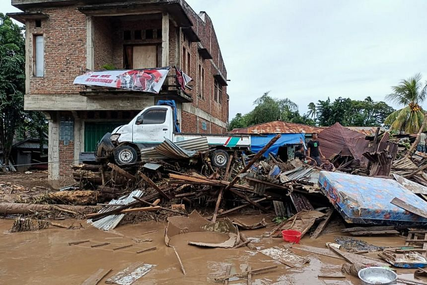 The aftermath of a flash flood in Adonara, East Flores, Indonesia, on April 4, 2021.