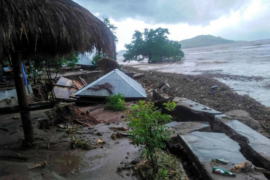 The aftermath of a flash flood in Lembata, East Flores, Indonesia, on April 5, 2021.
