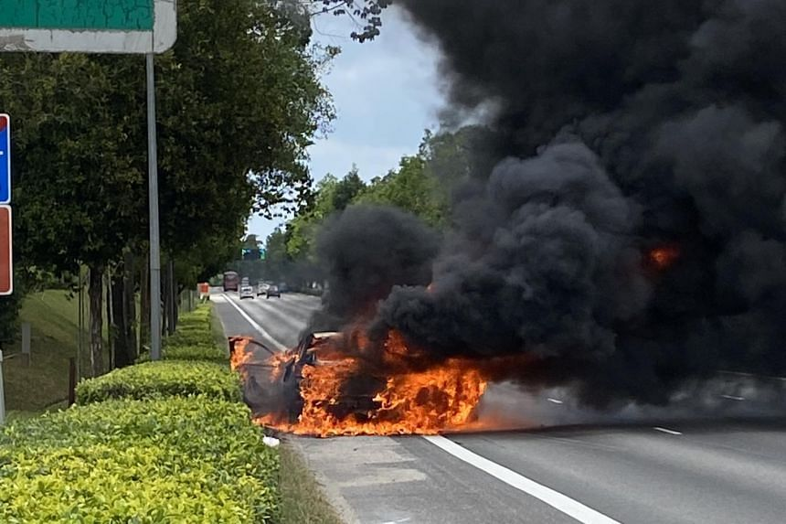 Mr Lester Cher's car caught fire when he was driving along Bukit Timah Expressway on March 6, 2021.