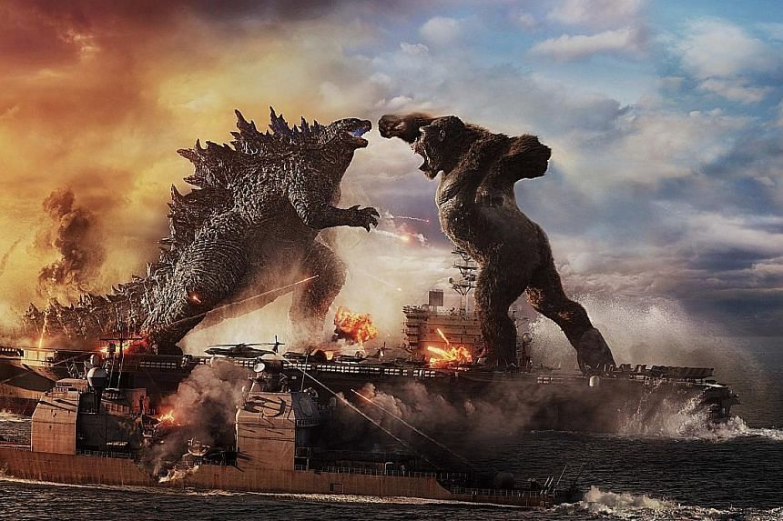 A still from Godzilla Vs Kong. The monsters first fought in 1962 after a big-screen match-up between Kong and Frankenstein's monster was scuttled, at which point film studio Toho offered Godzilla as a replacement.