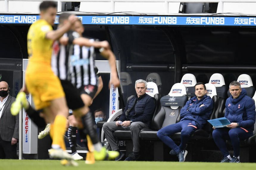 Tottenham Hotspur manager Jose Mourinho (seated far left) watching his team in action during an English Premier League. He appears in this ST Sports Talk podcast exclusive.