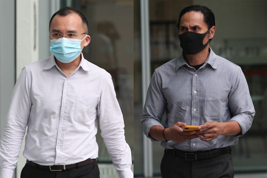 Former Tuas View Fire Station rota commander Kenneth Chong Chee Boon (left) and his deputy Nazhan Mohamed Nazi (right) had each been sentenced to 10 weeks' jail last September over a 2018 ragging incident in which a full-time national serviceman di