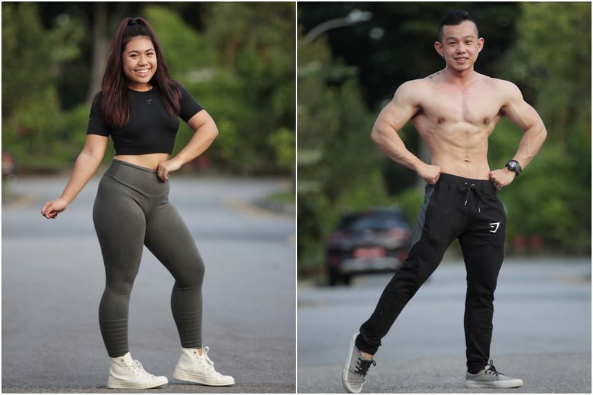 Wee Li Qing Nuruhidmah Hidayat (left) hits the gym six times a week while Brandon Lio goes five times a week.