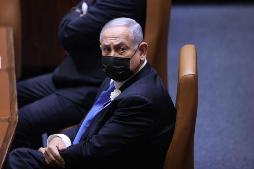Israeli Prime Minister Benjamin Netanyahu attends the swearing-in ceremony of parliament in Jerusalem, April 6, 2021.