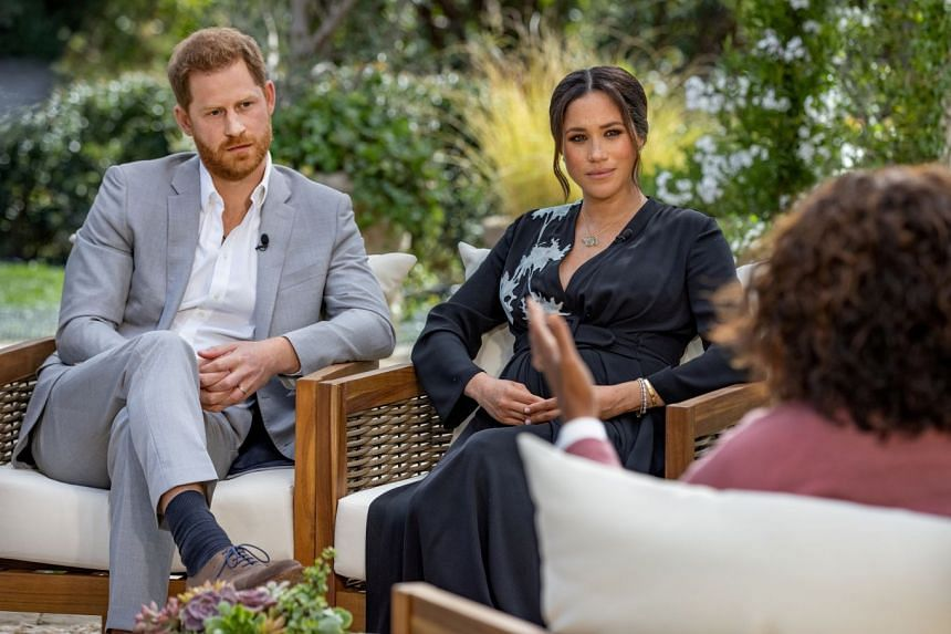 Britain's Prince Harry and Meghan, Duchess of Sussex, are interviewed by Oprah Winfrey in March 2021.
