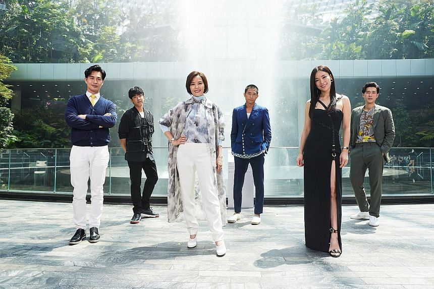 Celebrities (from left) Pierre Png, Benjamin Tan, Zoe Tay, Desmond Tan, Rebecca Lim and James Seah were at yesterday's virtual press conference at Jewel Changi Airport to announce the venue of this year's Star Awards.
