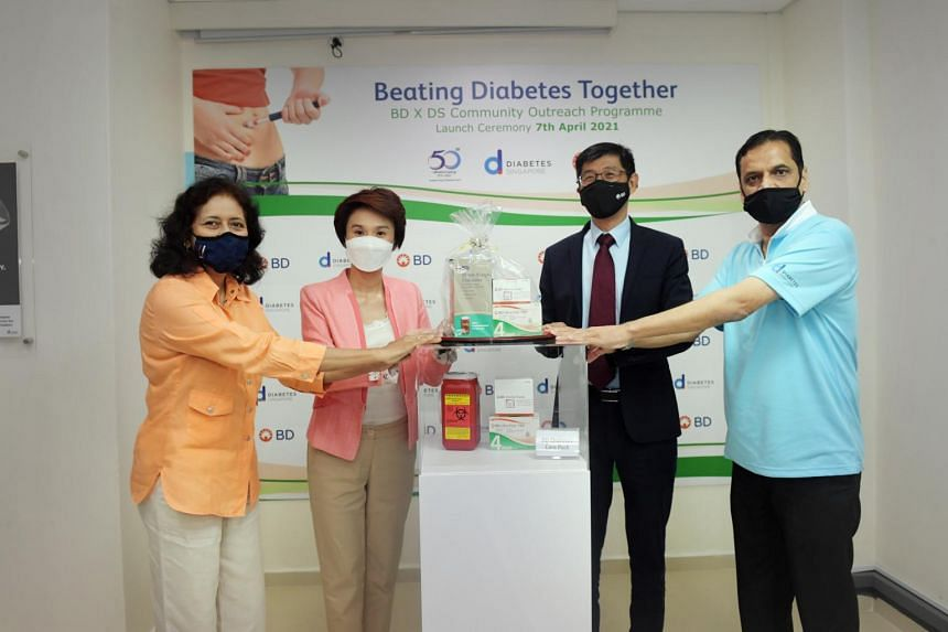 (From left) Diabetes Singapore president Kalpana Bhaskaran; South West District Mayor Low Yen Ling; Becton, Dickinson and Company's executive vice-president James Lim, and Diabetes Singapore executive director Satyaprakash Tiwari.