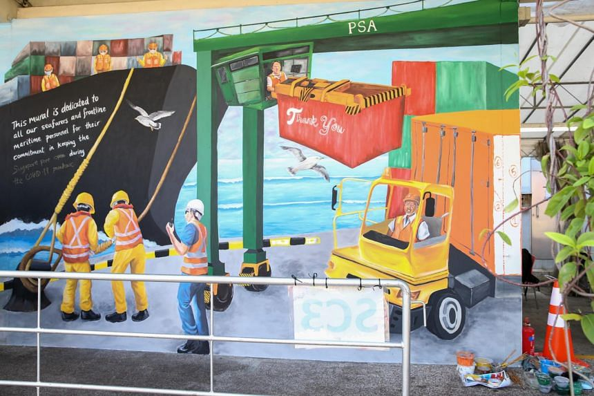 The murals were created by local artist Jaxton Su and his team, with PSA and Jurong Port staff lending a hand.