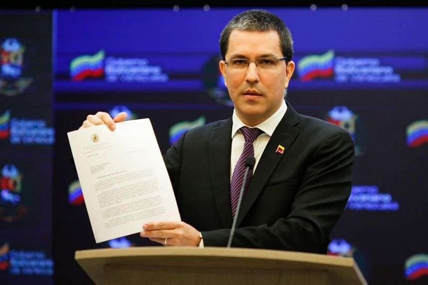 Minister of Foreign Relations Jorge Arreaza during a press conference in Caracas, Venezuela, on April 6, 2021.