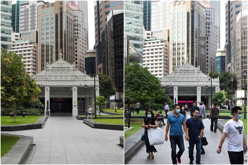 Raffles Place looking like a ghost town in May 2020 (left) and crowds returning to Raffles Place on April 5, 2021 (right).