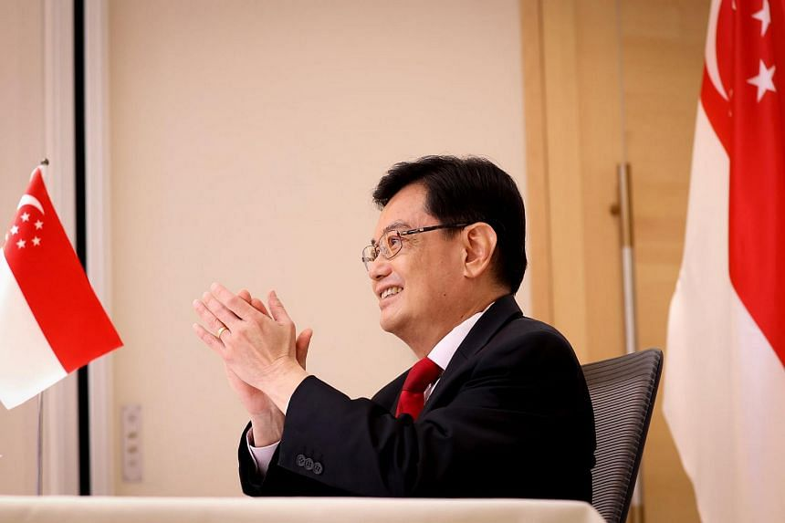 Singapore DPM Heng Swee Keat said that curbing the spread of the virus takes top priority, during the G-20 virtual conference on April 7, 2021.