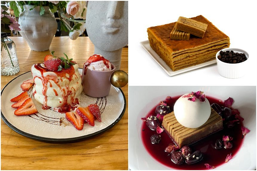 (Clockwise from left) Cafe de Nicole's Flower's Strawberry pancakes, Marie Lapis Cafe's coffee kueh lapis and Lapis In Wonderland.