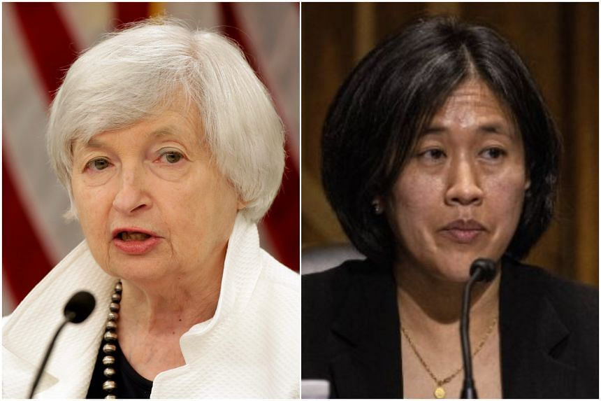 (From left) Treasury Secretary Janet Yellen and trade czar Katherine Tai hold top jobs in Mr Joe Biden's administration.