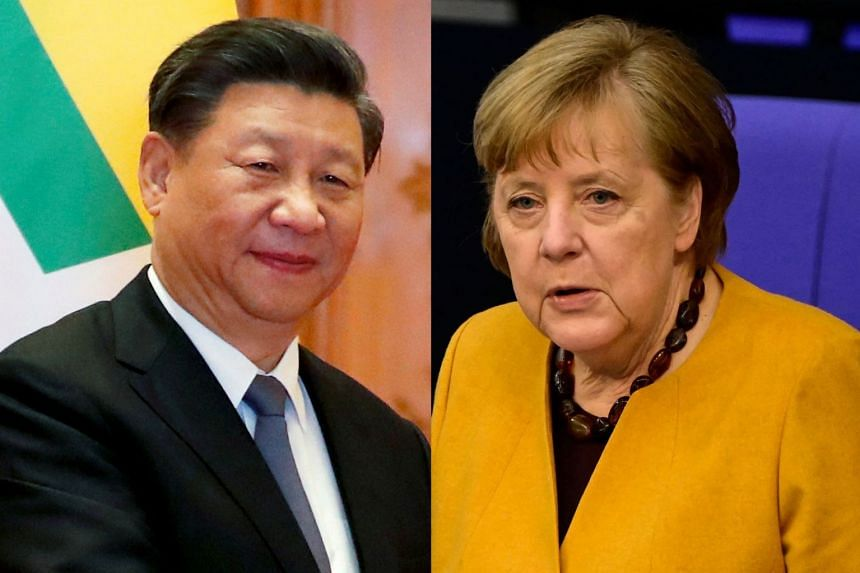"Xi (left) told Merkel during a phone call that the EU and China should respect each other and ""eliminate interference""."