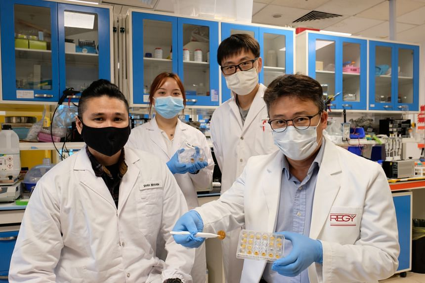 (From left) PhD student Mohammed Shahrudin Ibrahim, master's student Deng Jingyu, research fellow Zhao Ze, and Professor Cho Nam-Joon.