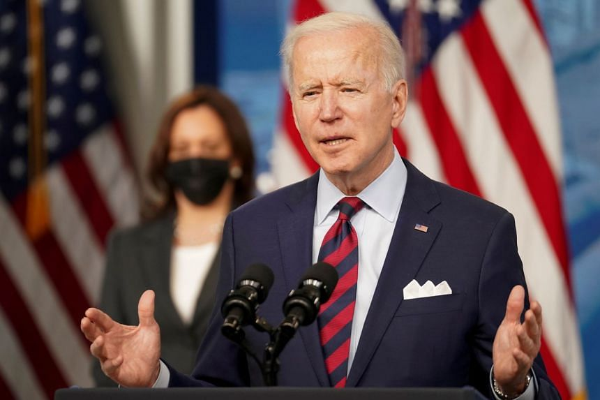 Joe Biden speaks about jobs and the economy at the White House in Washington, April 7, 2021.