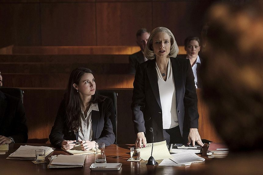 (From left, foreground) Shailene Woodley and Jodie Foster play lawyers in The Mauritanian, an adaptation of former Guantanamo Bay detainee Mohamedou Ould Slahi's 2015 memoir.
