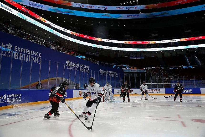 Spectators watching an ice hockey competition last week, a test event ahead of the 2022 Beijing Winter Olympics. Republican politicians in the US have led calls for a boycott of the Games, in part over what rights monitors say is the mass incarcerati