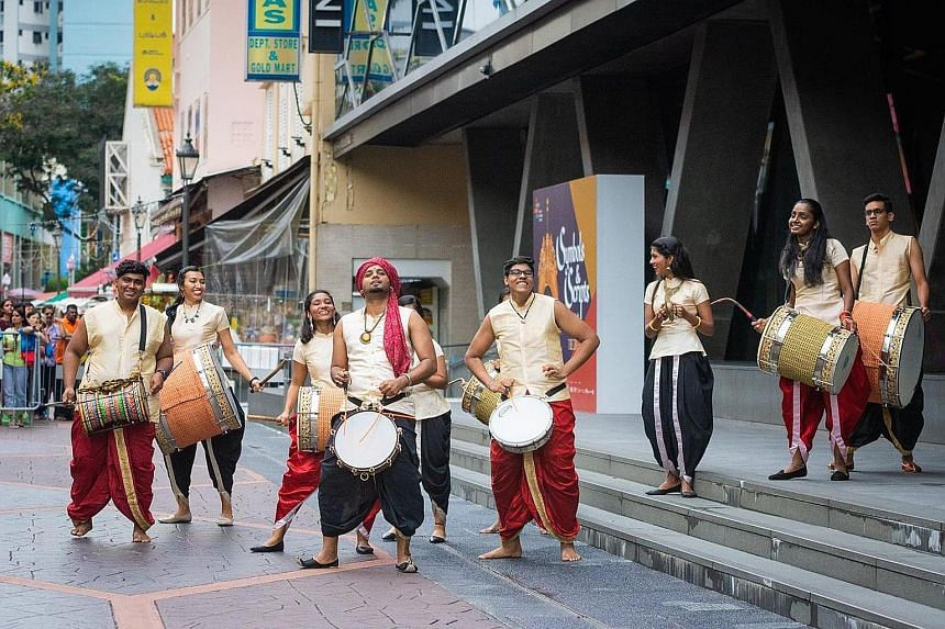 Traditional Indian drumming troupe Damaru performing as part of past Indian New Year festivities. This year's celebrations also include a mango festival, a gold festival and a treasure hunt. PHOTO: LITTLE INDIA SHOPKEEPERS AND HERITAGE ASSOCIATION