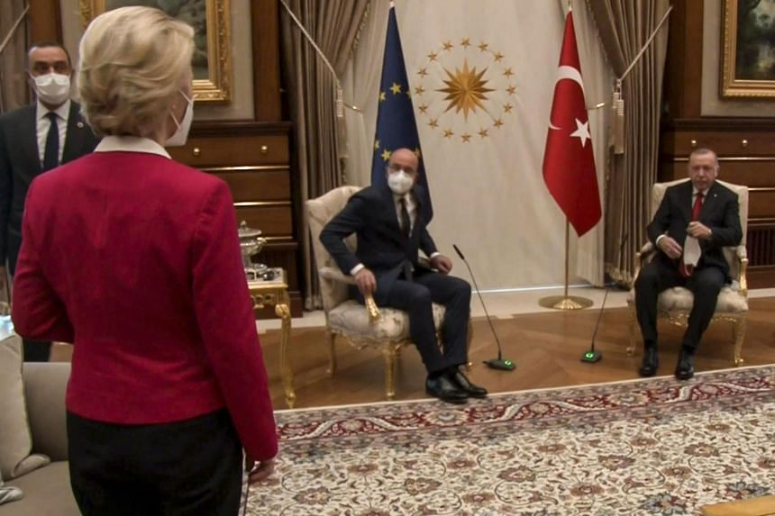Turkish President Recep Tayyip Erdogan (right) and European Council President Charles Michel (centre) seated themselves while European Commission chief Ursula von der Leyen was left standing.