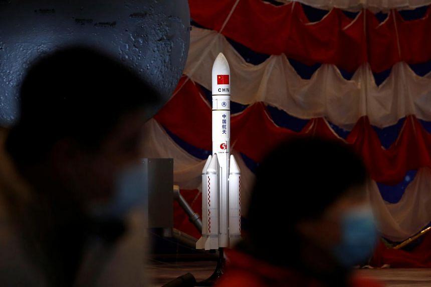 A model of the Long March-5 Y5 rocket in Beijing on March 3, 2021.