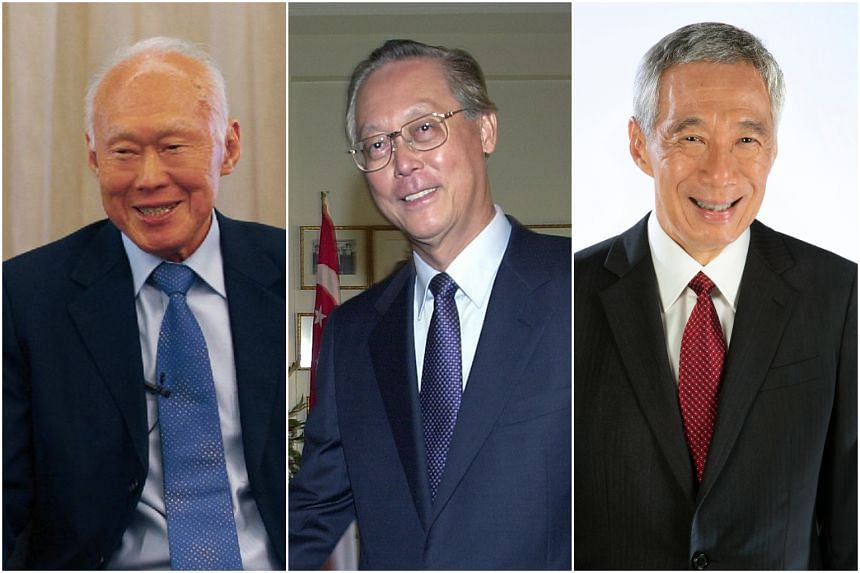 (From left) Singapore's founding prime minister Lee Kuan Yew, second prime minister Goh Chok Tong and current Prime Minister Lee Hsien Loong.
