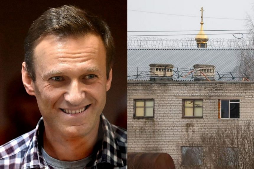 Navalny (left) has launched a hunger strike in prison (right) to demand proper medical treatment for severe back pain and numbness in his legs.