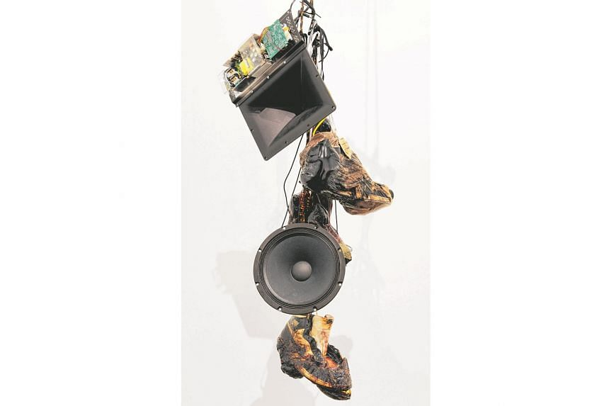 The suspended sculpture, Strange Fruit (Pair 1) (2015, above), by American artist Kevin Beasley has embedded microphones to pick up and amplify ambient sounds. Its title alludes to the 1930s song, Strange Fruit, which was a protest against the lynchi