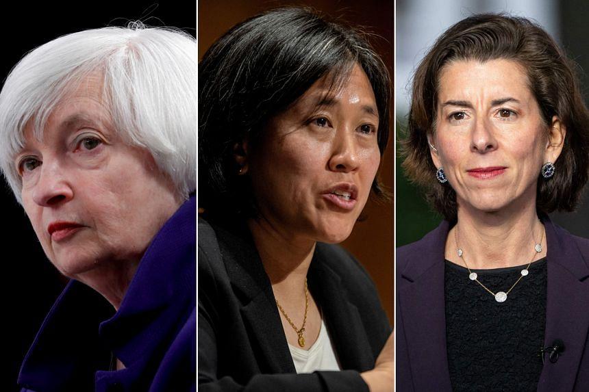 Treasury Secretary Janet Yellen (left), Trade Representative Katherine Tai (centre) and Commerce Secretary Gina Raimondo (right) are among the key White House personnel dealing with US economic policy.