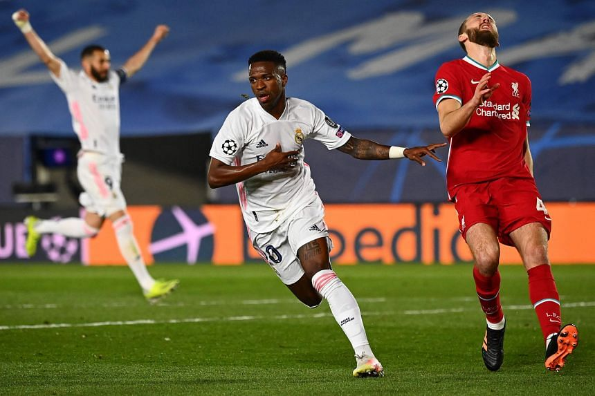 Real forward Vinicius Jr celebrating after scoring the opener in the 27th minute of the Champions League quarter-final first-leg clash against Liverpool at the Alfredo di Stefano Stadium in Madrid. He netted again in the 65th minute to record his fir
