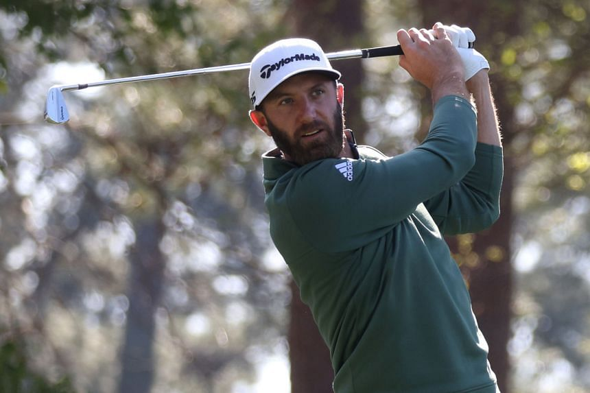 World No. 1 Dustin Johnson teeing off on the fourth hole during a practice round at Augusta National on Monday.
