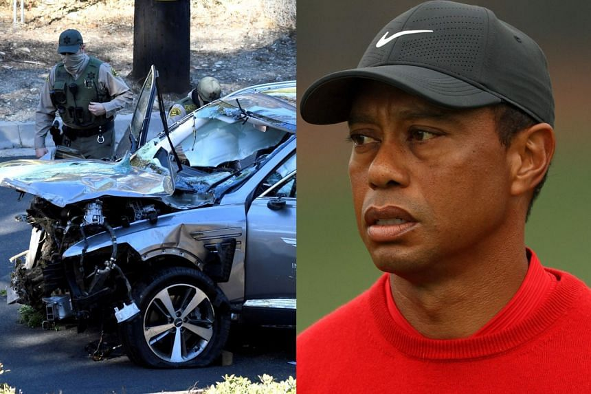 Police inspect Woods' vehicle (left) after a crash left the golfer (right) with serious leg injuries.