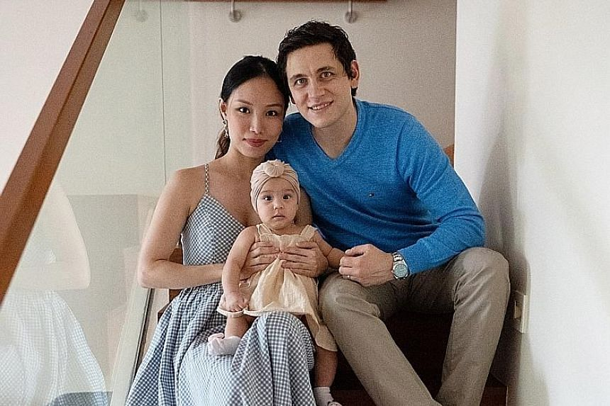 Ms Beatrice Tan (above with husband Dean Krstevski and daughter Aria).