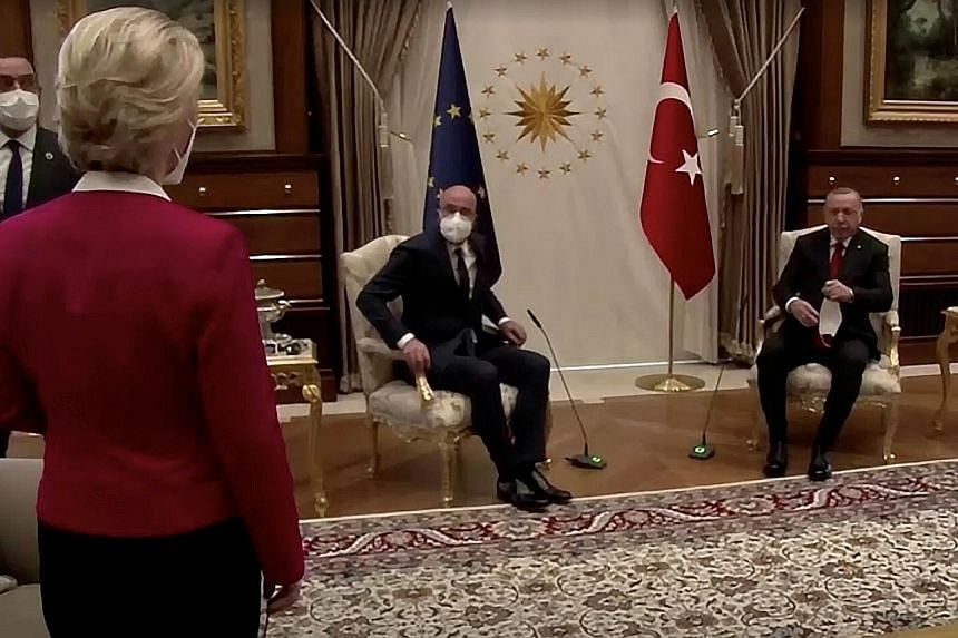 European Commission chief Ursula von der Leyen left standing as European Council president Charles Michel (centre) and Turkish President Recep Tayyip Erdogan took the two seats in the room at their meeting on Tuesday.