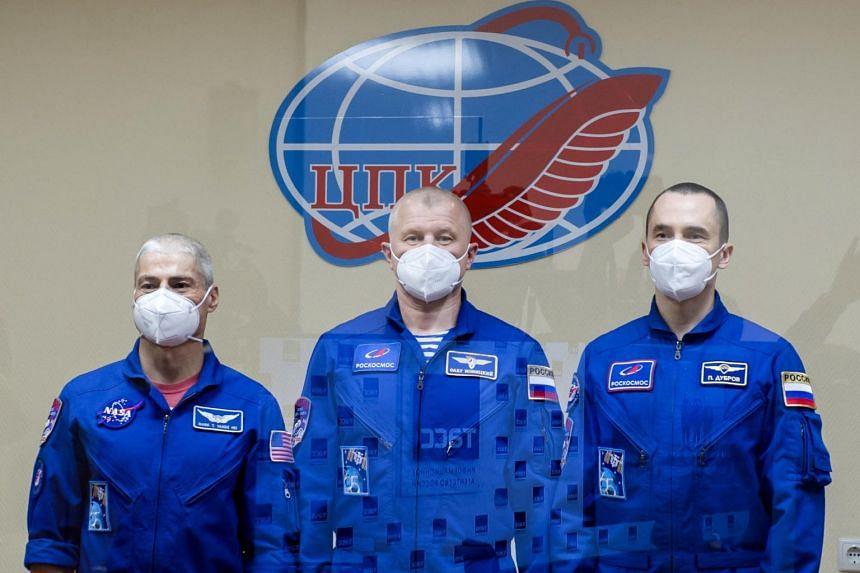 (From left) Astronaut Mark Vande Hei, cosmonaut Oleg Novitskiy and Pyotr Dubrov at the Baikonur cosmodrome, Kazakhstan, on April 8, 2021.