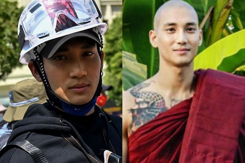 Myanmar actor Paing Takhon during the protests (left) and during a 10-day stint he did as a monk (right).