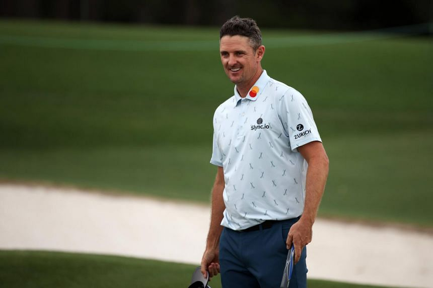 Justin Rose reacts on the 18th green during the first round of the Masters at Augusta National Golf Club in Augusta, Georgia, on April 8, 2021.