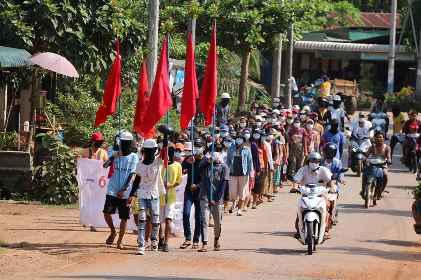Protesters demonstrating against the military coup in Launglone township in Myanmar's Dawei district on April 10, 2021.